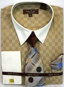 Men-039-s-Dress-Shirt-Tie-Hanky-Set-Light-Brown-Ivory-Checks-Cuff-Links-French-Cuff