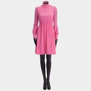 VALENTINO-2700-New-SS18-Silk-Pink-Longsleeve-Roll-Neck-Dress