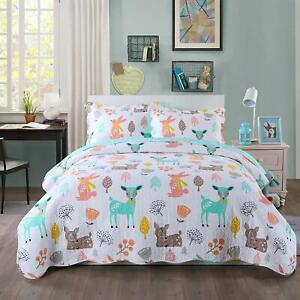 100-Cotton-Kids-Bedspread-Quilts-Set-for-Teens-Boys-Girls-Bedding-Forest-Deer