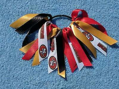 Team Colors Ribbon Ponytail Holder Made with San Francisco 49ers Ribbon