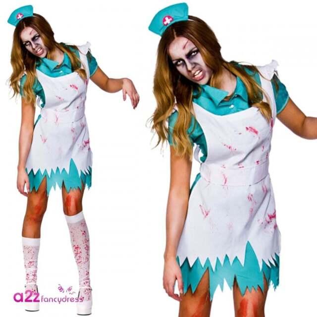 88cf84e50eb4e Kostüme Killer Zombie Nurse Ladies Halloween Fancy Dress Horror Costume  Outfit UK 6-24