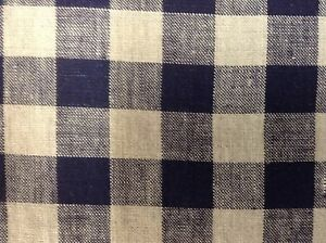 French Vintage Linen Gingham Check Navy Blue Grey Curtain Upholstery