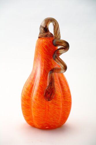 New Large 9 Hand Blown Art Glass Orange Pumpkin Sculpture Figurine Harvest Fall