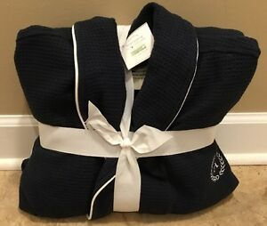 New Pottery Barn Hotel Piped Trim Robe Extra Large Navy