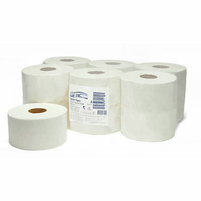 Mini Jumbo Toilet Rolls Pack Of 12 | 2ply White Embossed 416 Sheets Office Pub