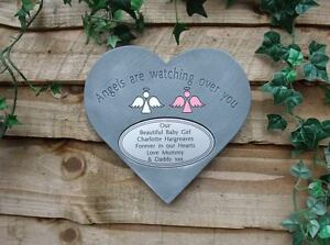 Personalised-Angel-Memorial-Heart-with-Oval-Plaque-Garden-Cemetery-Stone-Marker