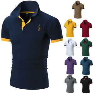 Moda-Para-hombres-Calce-Ajustado-Camisas-Mangas-Cortas-Casual-gol-Camiseta-mulscle-Prendas-para-el