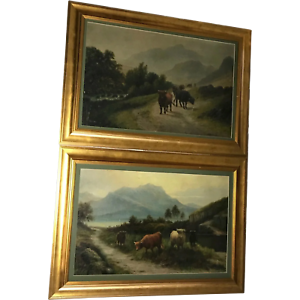 Pair-Fine-Antique-Pastoral-Oil-Paintings-19th-Century-Scottish-Highlands-Cattle