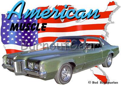 1969 Green Pontiac Grand Prix a Custom Hot Rod Garage T-Shirt 69 Muscle Car Tees