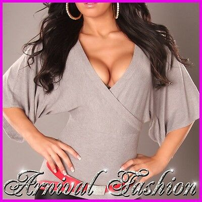 NEW WOMENS LADIES SEXY DESIGNER V-NECK KNITTED BATWING JUMPER SWEATER TOP grey