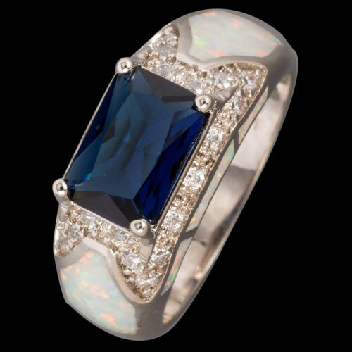 7x10 Radiant Saphir Bleu White Fire Opal Silver Jewelry US Ring Taille 7 8 9 10