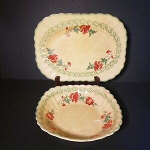 Antique-Yellow-Serving-Platter-and-Bowl-with-Orange-Floral-Design