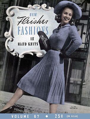 Fleisher's #67 c.1941 Vintage Knitting Stylish Fashion Patterns for Women