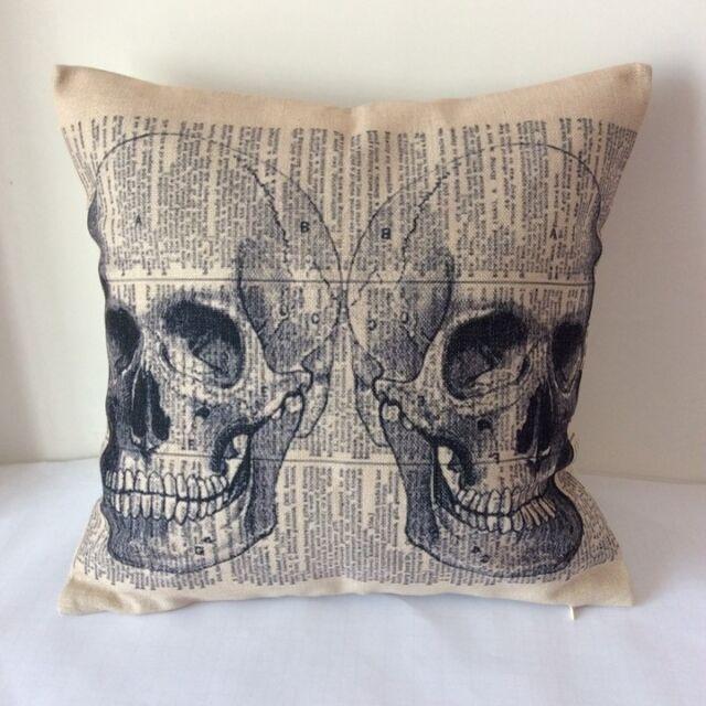 Vintage Sugar Skull Cotton Linen Throw Pillow Cushion Cover For Home Decor Z12