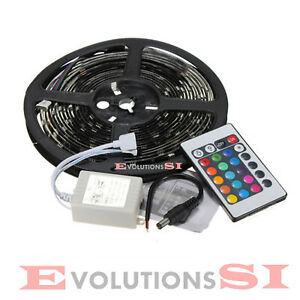 TIRA-DE-LED-5-METROS-RGB-TRANSFORMADOR-12V-MANDO-DISTANCIA-CLASE-A-ENVIO-24-48H