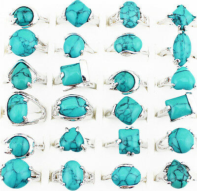 Wholesale Lot 10pcs Fashion Jewelry Silver Plated Assorted Turquoise Rings
