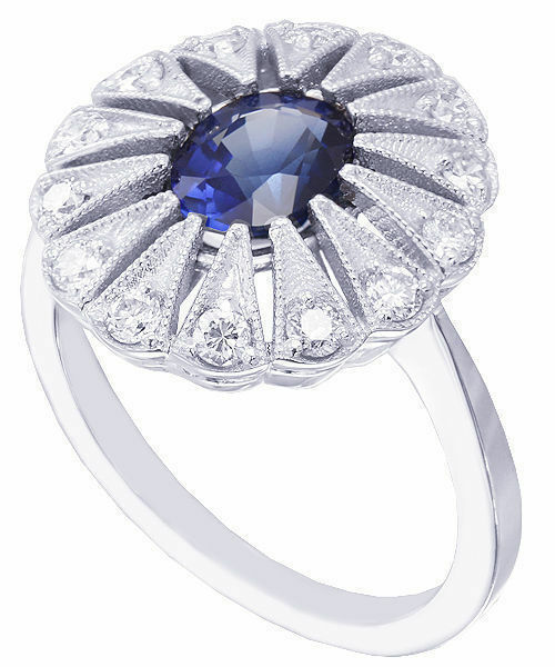 14K WHITE gold OVAL CUT SAPPHIRE AND DIAMONDS ENGAGEMENT RING BRIDAL HALO 1.05CT