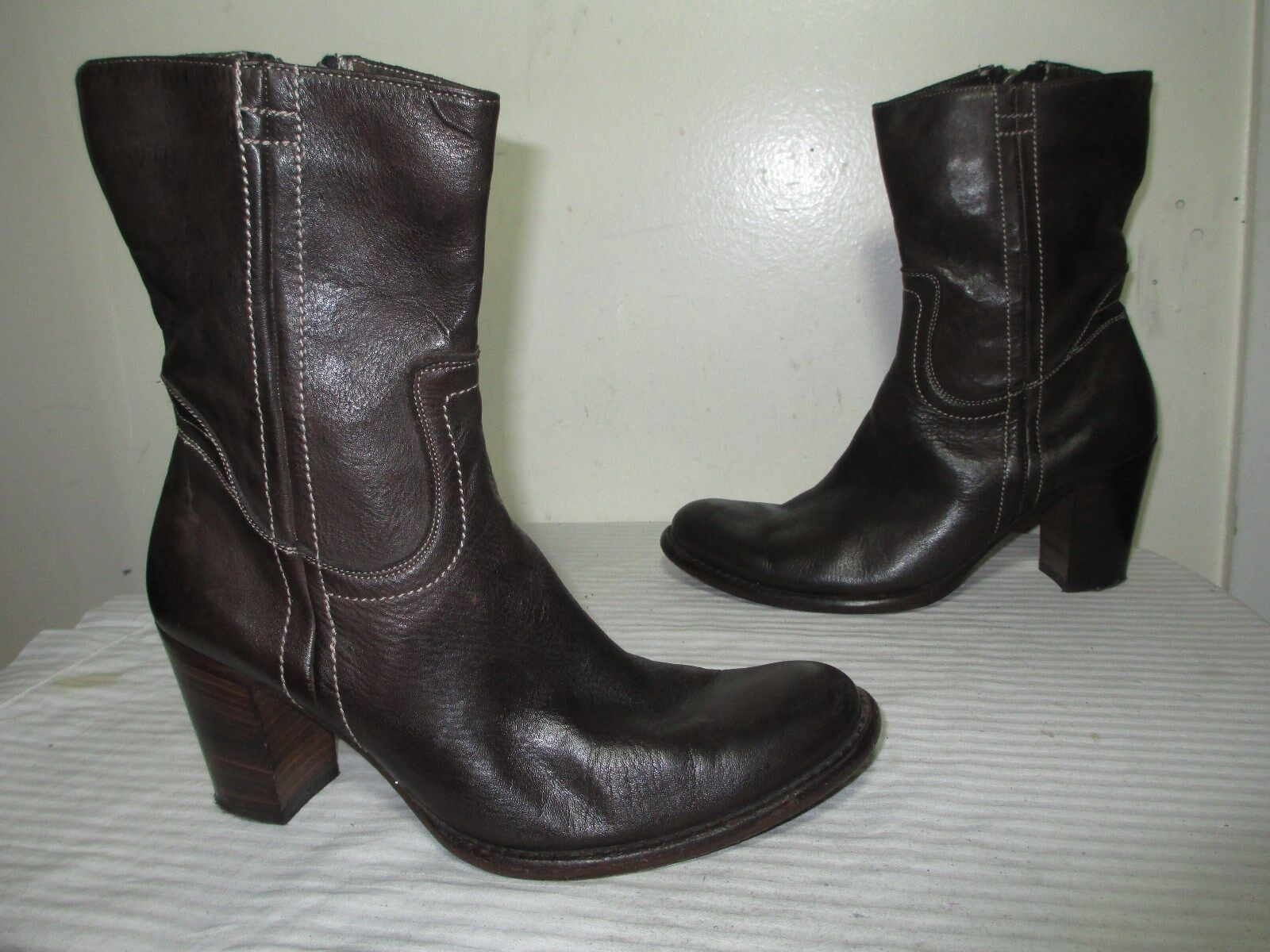 PAUL SMITH WOMEN'S BROWN LEATHER ZIP HEEL ANKLE BOOTS MADE IN ITALY SZ 38 US 7.5