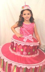 Birthday-Tiered-Cake-Boutique-Halloween-Costume-Girls-Cosplay-Sweet-Pink-Kid-NEW