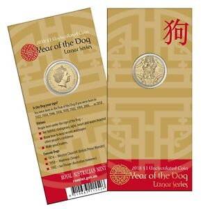 2018-Australia-Lunar-Year-of-the-Dog-1-Carded-Unc-Coin-RAM