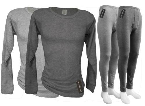 Biancheria lavoro-thermowäsche-Langer mutande Camicia manica lunga in Grigio-Tg 5-9