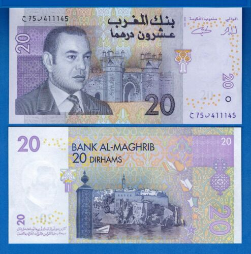 Morocco P-68 20 Dirhams Year 2005 Uncirculated Banknote Africa