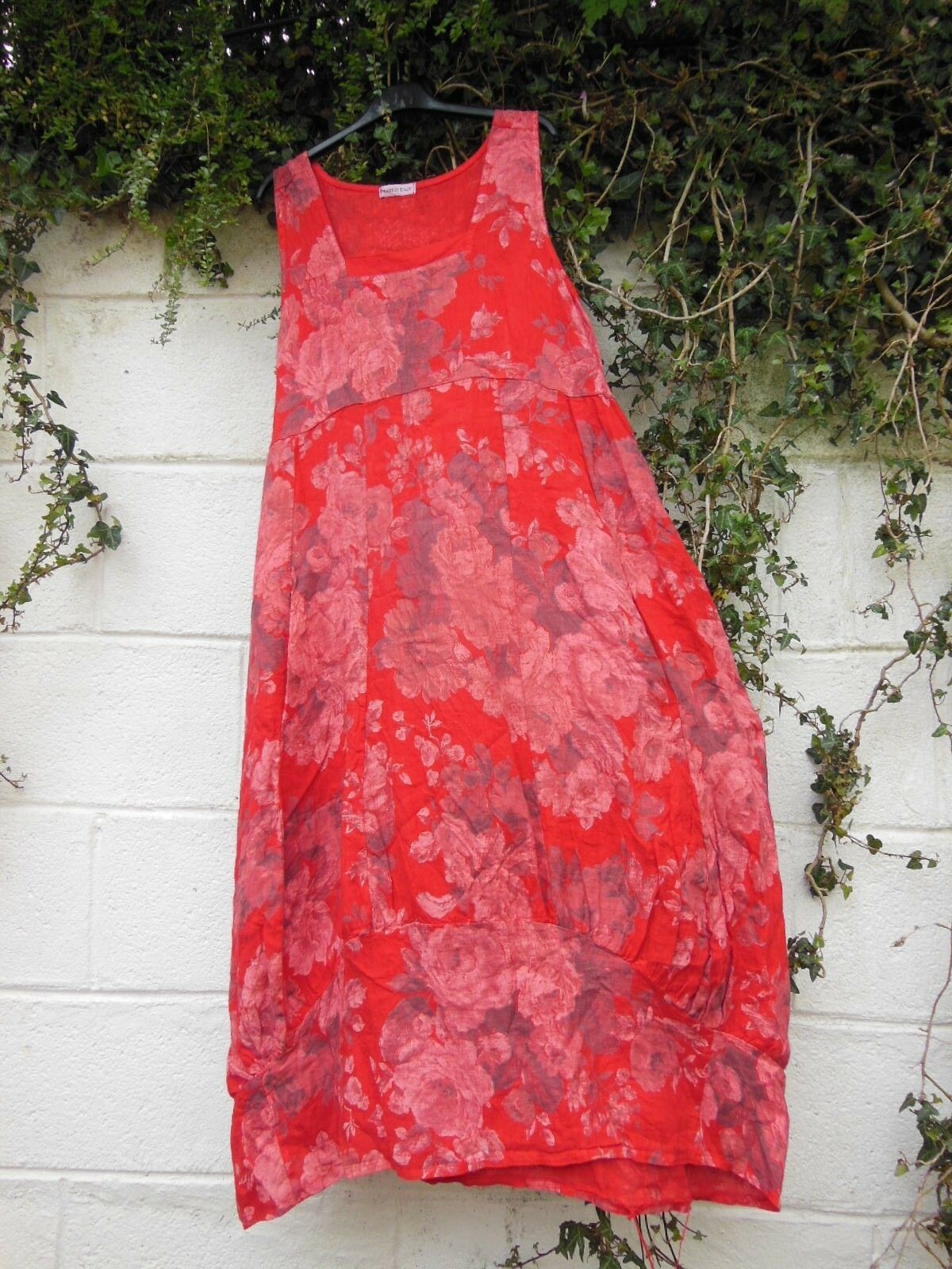 """QUIRKY BALLOON LINEN MAXI DRESS RED ONESIZE 42"""" BUST LAGENLOOK ETHNIC ARTY HIPPY"""