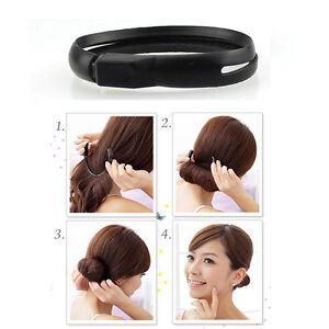 1-X-Black-Hair-Styler-Magic-Bun-Ponytail-Maker-Twist-Ring-Pip-UK