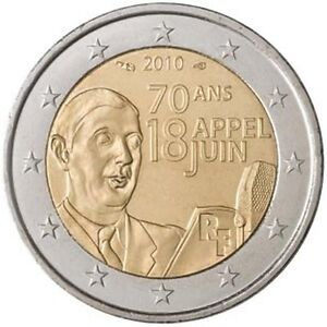 2010 france 2 euro uncirculated coin de gaulle 39 s june 18 1940 appeal 70 years ebay