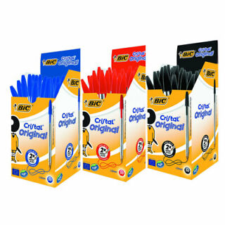 50 PENNE BIC CRISTAL MEDIE MEDIUM PUNTA DA 1 mm BLU 1 BOX
