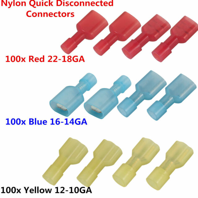 300pcs Fully Insulated Nylon Spade Crimp Wire Connector Terminals ...