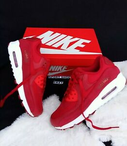 Details about 9 Men's Nike Air Max 90 Premium white 700155 602 Gym Red White running casual
