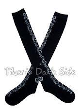 Crossed Ribbon Garland Black Gray Sweet Gothic Lolita Cosplay Over Knee Socks