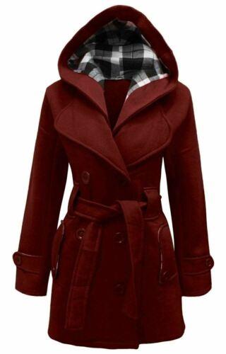 Womens Ladies Winter Coat Ladies Girls Belted Long Hooded Warm Jacket Size S-5XL