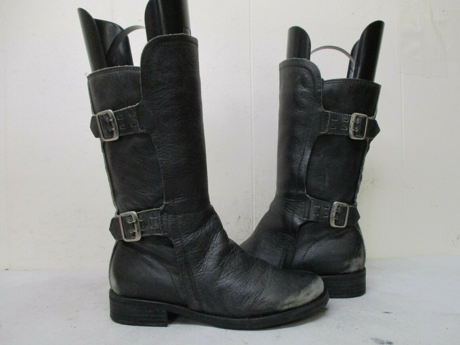 Matisse Tradition Distressed Black Leather Buckle Biker Boots Womens Size 6 M