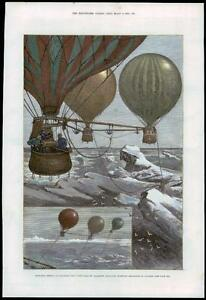 1880-Original-Antique-Print-HOT-AIR-BALLOON-North-Pole-Balloons-at-Anchor-7