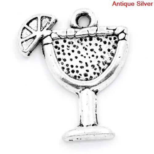 10 PCs Antique Silver Tropical Drink Charms