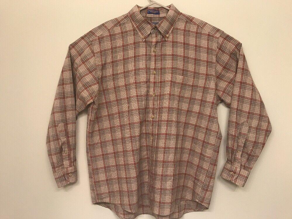 Sir Pendleton Men's XL Button Down Shirt 100% Virgin Wool Shirt Plaid Tan Red