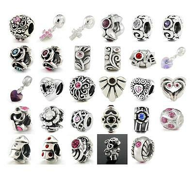 925 STERLING SILVER CRYSTAL OHM CHARM BEAD fit EUROPEAN 3MM BRACELET ~YOU CHOOSE