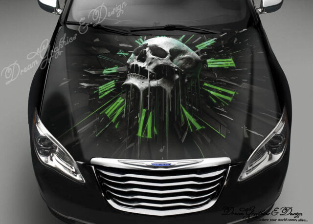 Skull Clock Hood Full Color Graphics Wrap Decal Vinyl Sticker Fit any Car #183