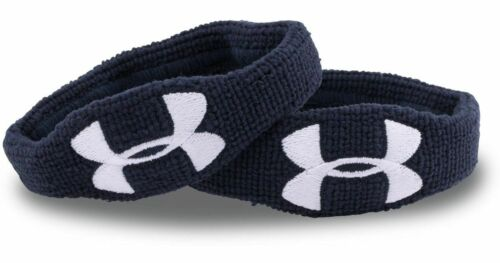 """Under Armour UA 1/"""" Wristbands Navy Authentic New"""
