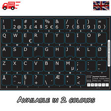 Norwegian Black Keyboard Stickers with White Letters for Laptop Computer PC