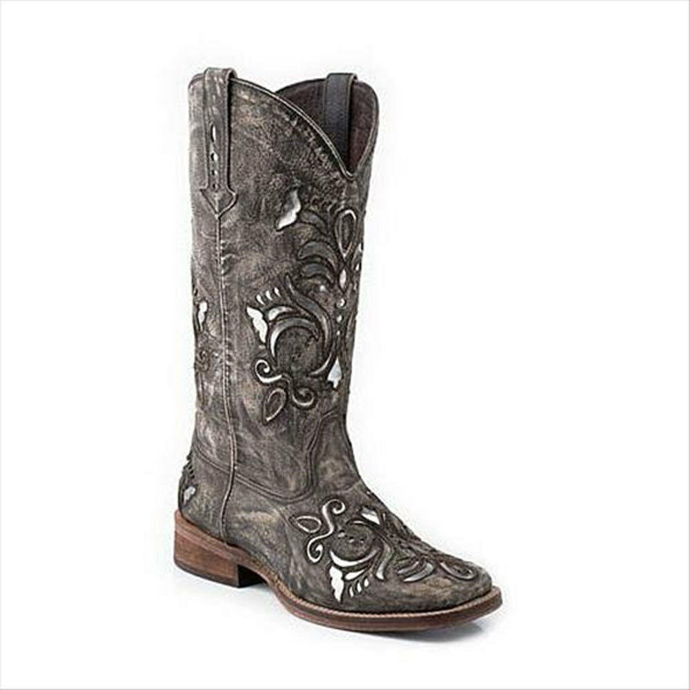 09-021-0901-0671 Roper Ladies Belle Square Toe Brown Sanded/Silver Western Boot