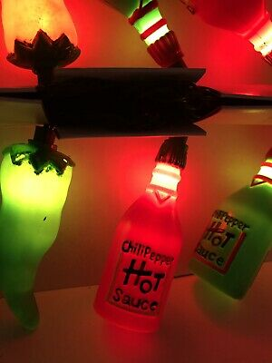 Noma Vintage Party Lights Patio Chili Pepper Hot Sauce Rv