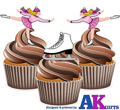 Able Precut Ice Skating Ice Skates Pink Mix 12 Edible Cupcake Toppers Cake Decoration Other Baking Accessories
