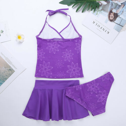 Kids Girls Summer Swim Dress Swimsuit Floral Swimwear Beachwear Halter 3Pcs Set