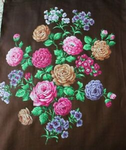 Antique-French-Hand-Painted-Mix-Rose-Bouquet-Textile-Design-On-Fabric-21-034-X-W14-034