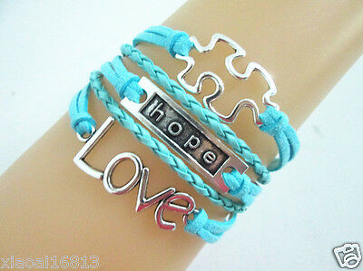 Pretty Hot Love/Hope/Autism Sign Charms Leather Braided Bracelet - Blue