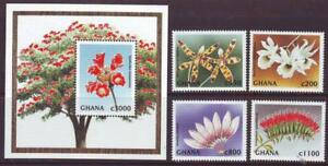 GHANA-1997-FLOWERS-SET-4-MINISHEET-Part-2-MINT-NEVERHINGED