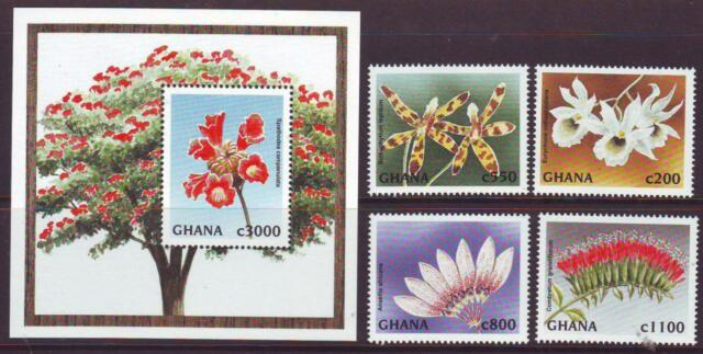 GHANA 1997 FLOWERS  SET 4 + MINISHEET Part 2 MINT NEVERHINGED